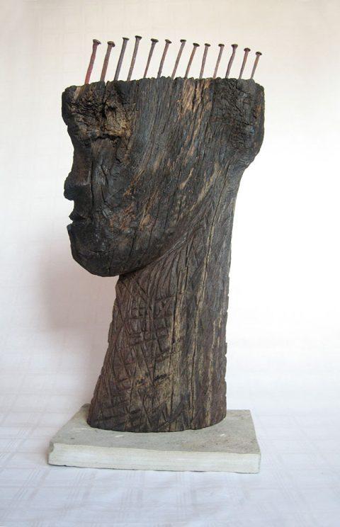 Mooreiche Holzskulptur Kopf