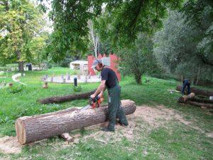 Holzbildhauer bei der Arbeit in Wietow
