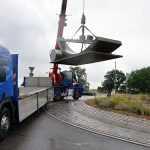 Kreisverkehr uns Aufbau der Skulptur